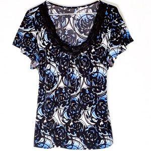 STYLE & CO Blouse blue, black floral scoop neck